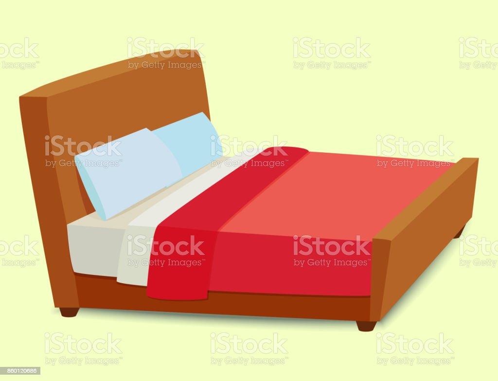 Bett-Symbol innere Heimat Rest Schlaf Möbel komfortable Nacht Vektorgrafik – Vektorgrafik