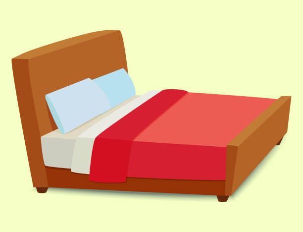 vector bed icon interior home rest sleep furniture comfortable night illustration - bed stock illustrations