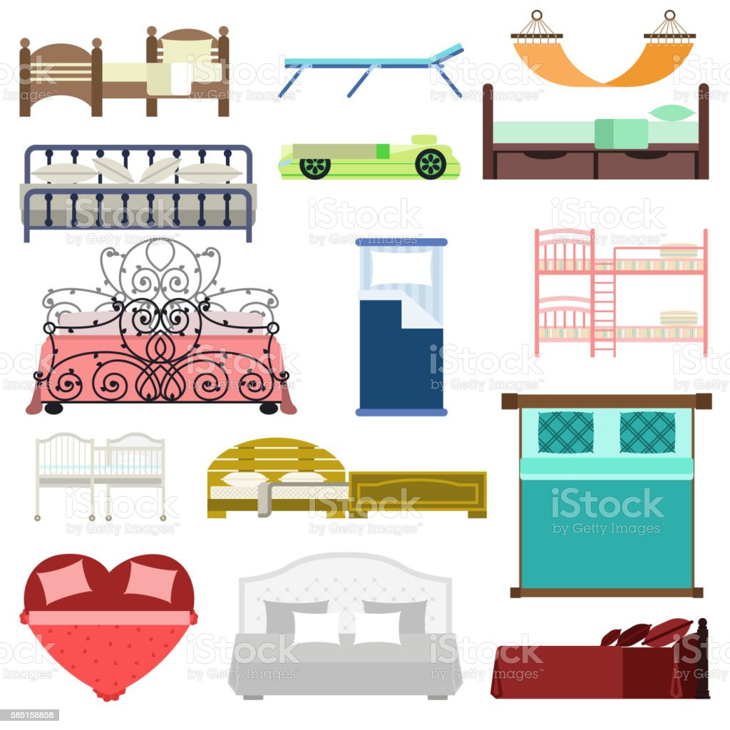 Vector bed icon set vector art illustration