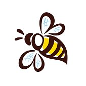 Vector bee icon. Pretty bee with honeycomb. Vector  image.