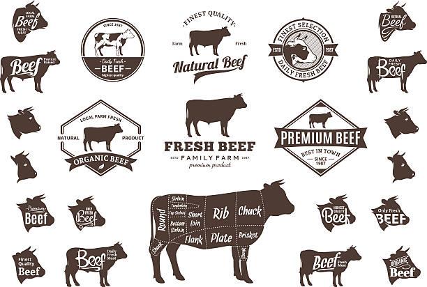 vektor-rindfleisch-etiketten, icons und design-elemente, diagrammen - rindfleisch stock-grafiken, -clipart, -cartoons und -symbole