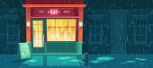 Vector background with bar at bad weather, rain. People inside the establishment. Facade of building with illumination, signboard. Entrance of fast food taproom. Outdoor architecture background