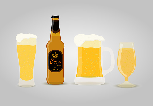 Vector beer - bottles, cups, glasses of frothy drink