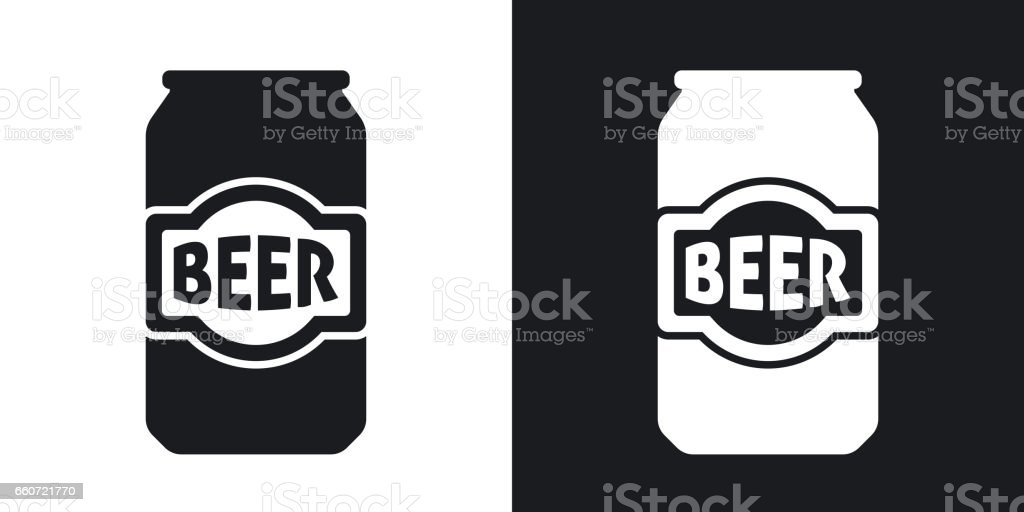 Vector beer can icon. Two-tone version vector art illustration