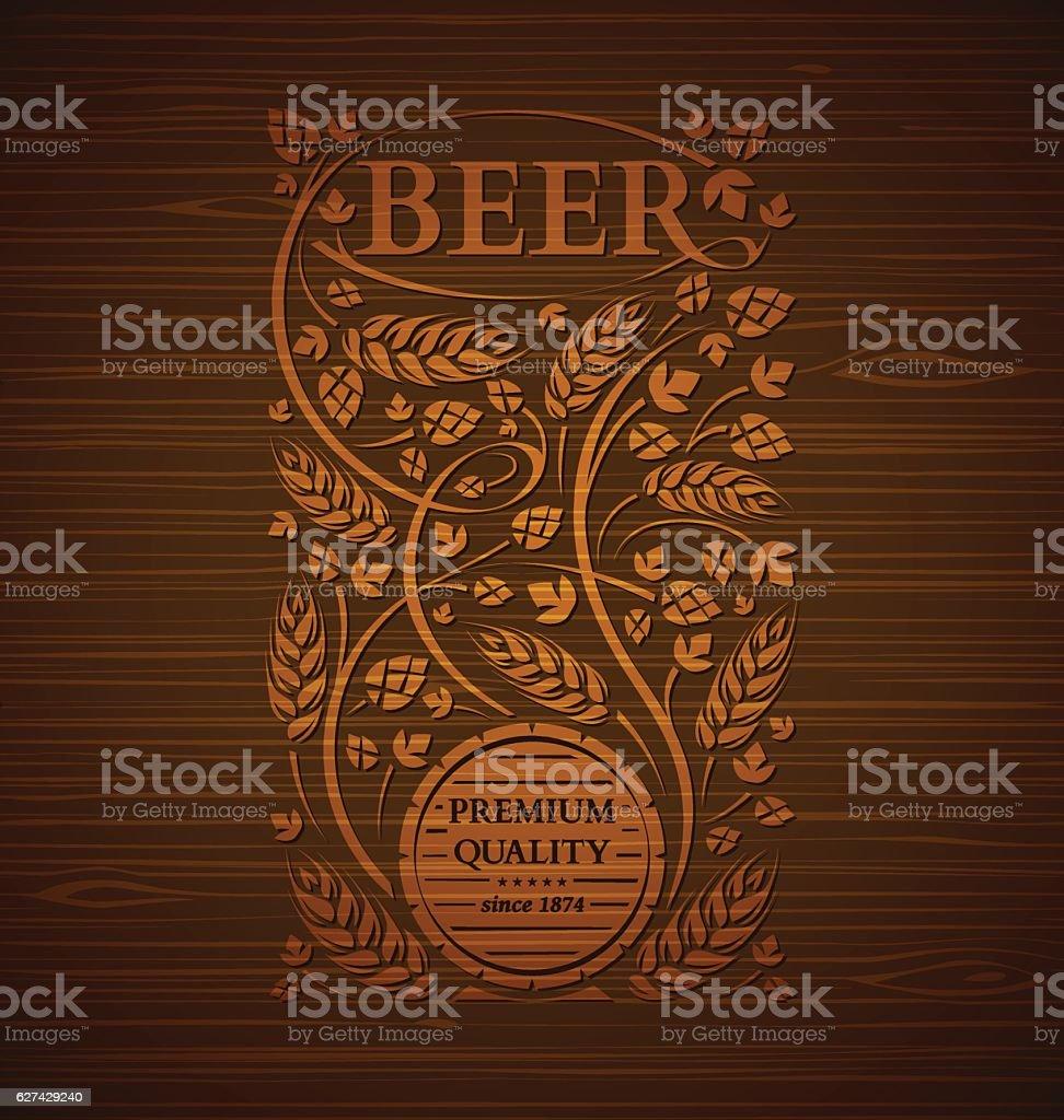 Vector beer emblem vector art illustration