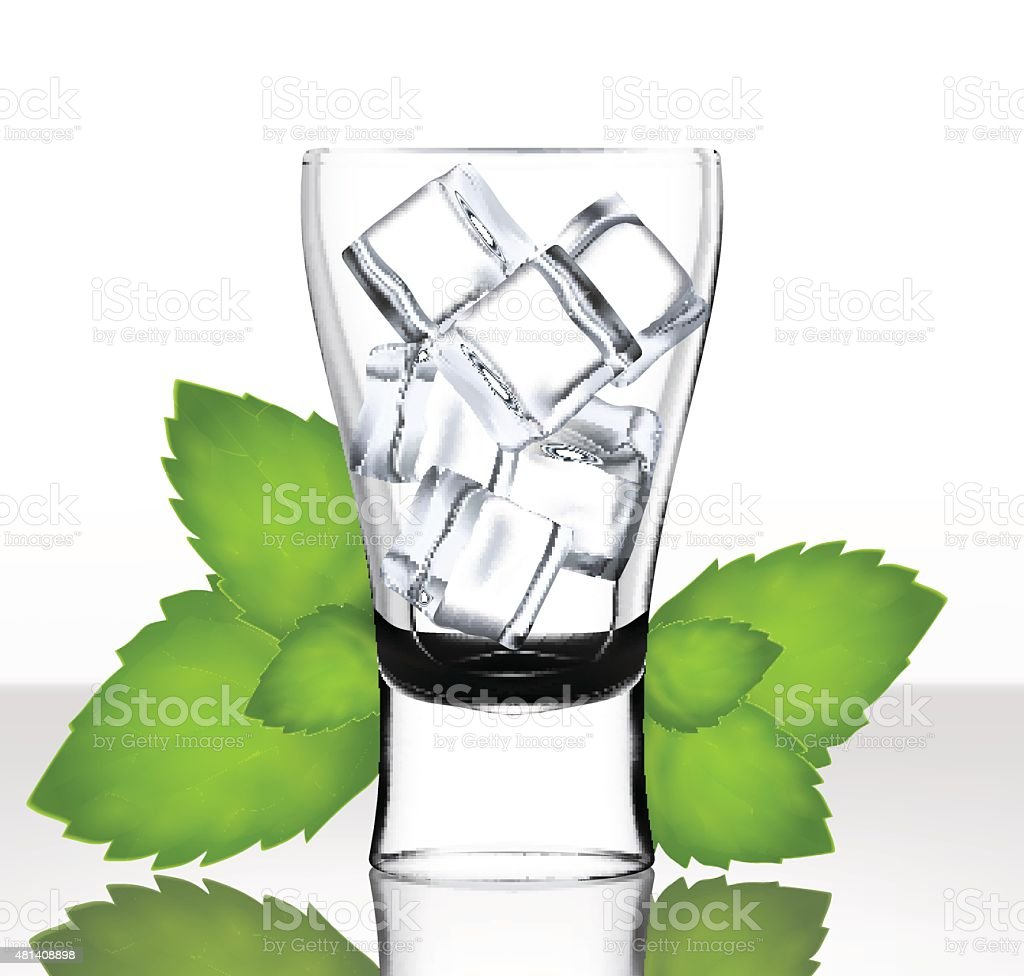 Vector beer glass with ice and mint vector art illustration
