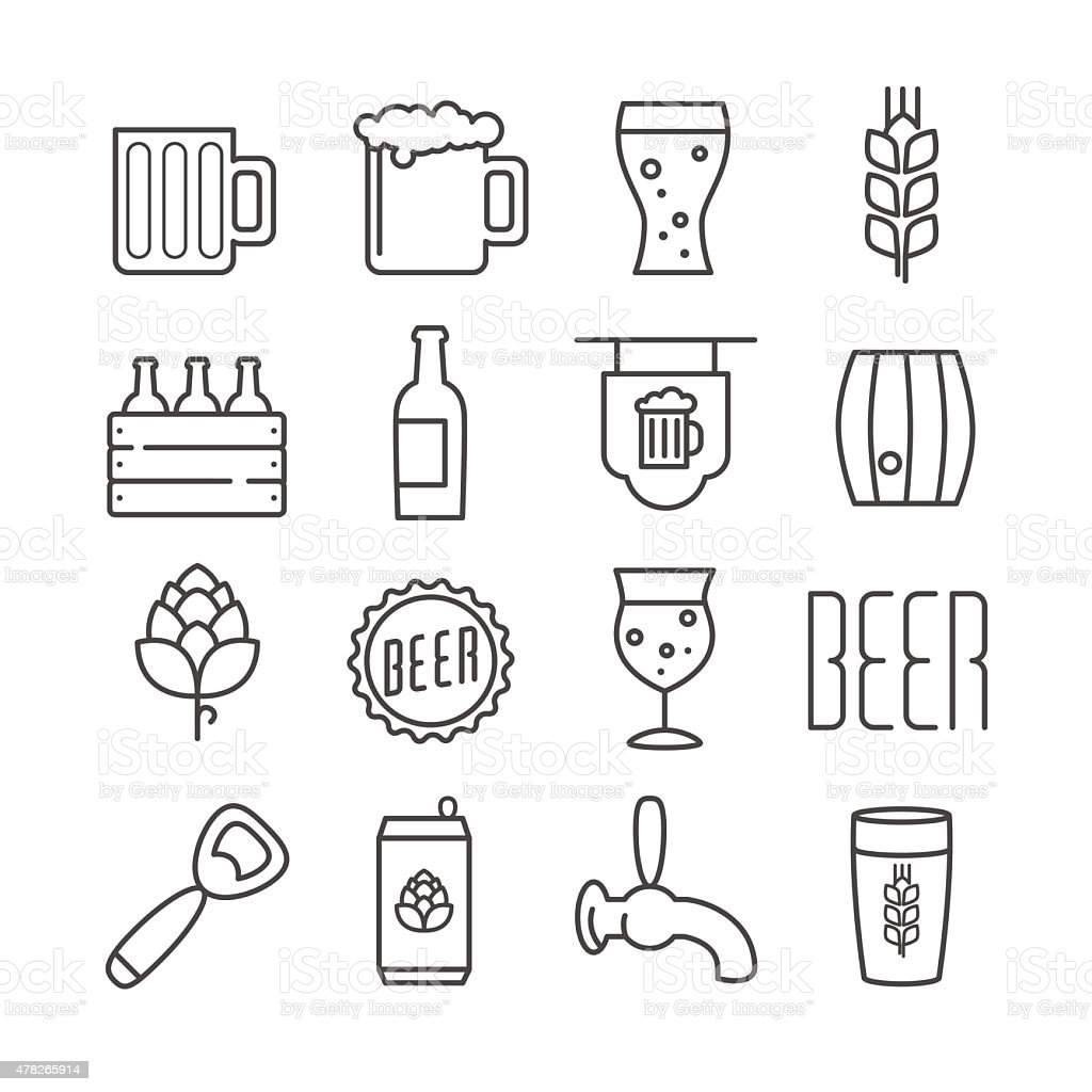 Vector beer icons vector art illustration