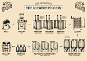 Vector beer infographics with illustrations of brewery process. Ale producing design. Lager production hand sketched scheme.