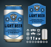 Vector beer label. Aluminum can mockup. Beer icons, badges, insignia