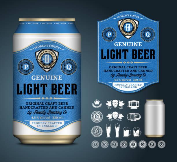 stockillustraties, clipart, cartoons en iconen met vector bier label. aluminium kan mockup. bier iconen, badges, insignes - bier