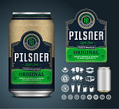 Vector light beer label. Realistic aluminum can mockup. Brewing company branding and identity icons, badges, insignia and design elements