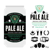 Beer label on aluminum can. Pale ale label. Brewing company branding and identity icons and design elements.