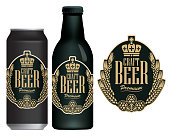 Vector label for craft beer in retro style on black background, decorated by wheat or barley ears, hops and crown in oval frame. Sample beer label on beer can and beer bottle