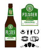 Beer label on bottle. Pilsner label. Brewing company branding and identity icons and design elements.