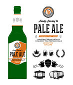 Beer label on bottle. Pale ale label. Brewing company branding and identity icons and design elements.