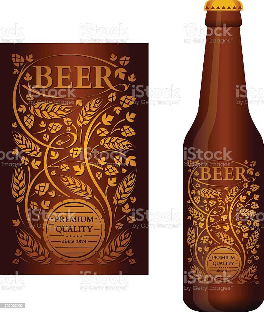 Vector beer label with floral ornament vector art illustration