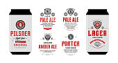 Beer labels and can mockup templates. Pale ale, pilsner, lager, porter and amber ale labels. Brewing company branding and identity design elements.
