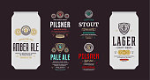 Beer labels and can mockup templates. Pale ale, pilsner, lager, stout and amber ale labels. Brewing company branding and identity design elements.