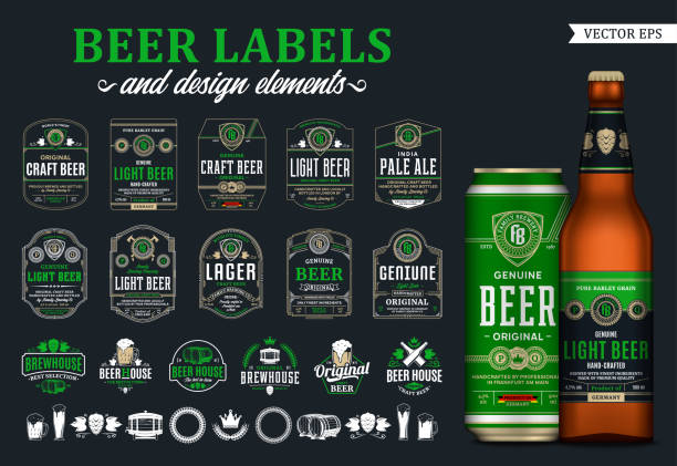 Vector beer labels, badges, icons and design elements Vector beer labels and design elements. Realistic glass bottle and aluminum can mockup. Brewing company branding and identity icons, badges, insignia and design elements beer stock illustrations