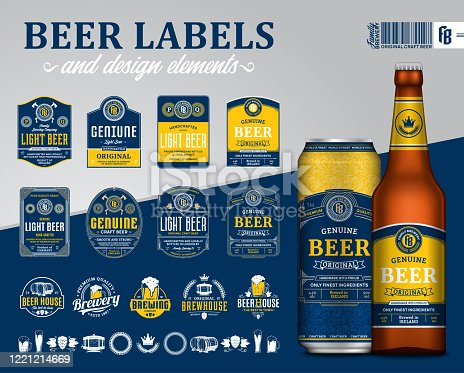 Vector blue and yellow premium quality beer labels. Realistic glass bottle and aluminum can mockup. Brewing company branding and identity design elements