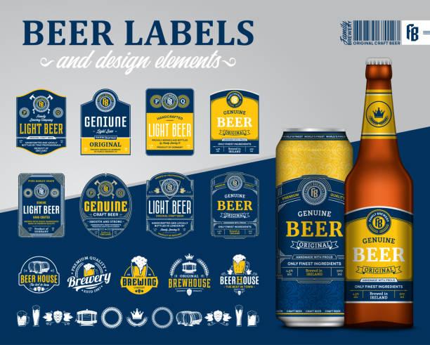 stockillustraties, clipart, cartoons en iconen met vector bieretiketten, badges, pictogrammen en ontwerpelementen - bier