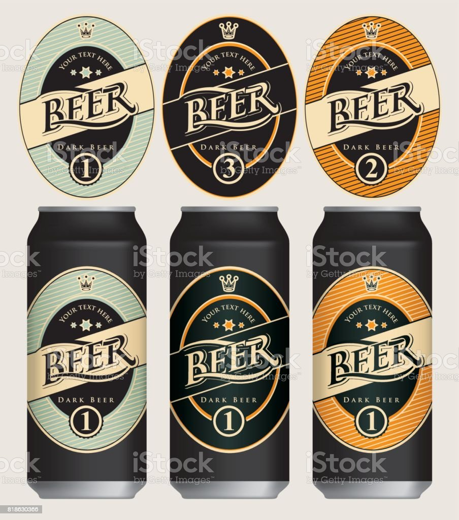 Vector beer labels for three beer cans.