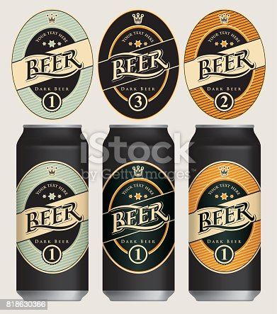 Three vector beer labels in retro style on various color backgrounds in oval frame with crown. Templates labels for dark beer on beer cans.