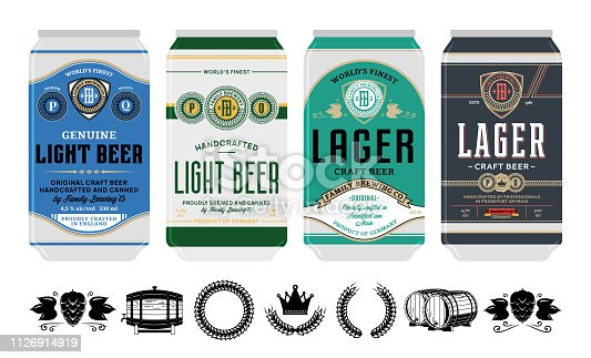 Beer labels on aluminum cans. Beer icons for brewhouse, bar, pub, brewing company branding and identity.