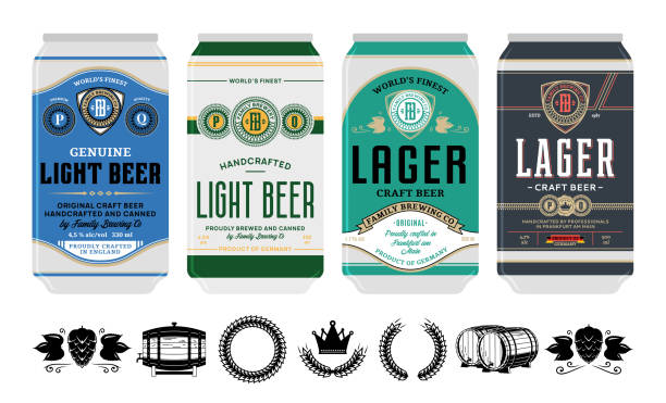 Vector beer labels on aluminum cans Beer labels on aluminum cans. Beer icons for brewhouse, bar, pub, brewing company branding and identity. beer stock illustrations