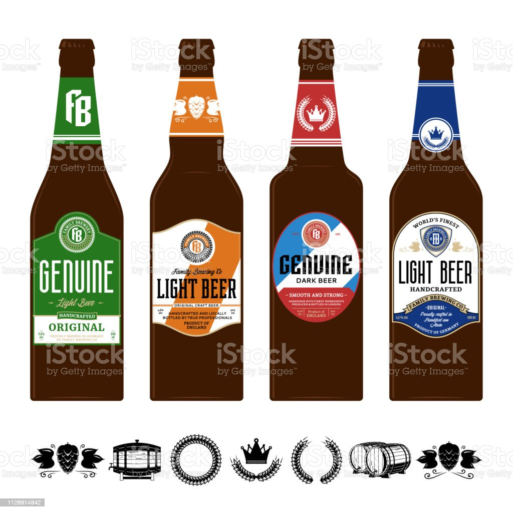 Beer labels on brown glass bottles. Beer icons for brewhouse, bar,...