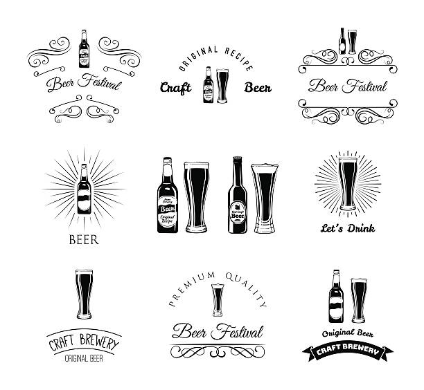 vector beer pub labels icons set vector art illustration