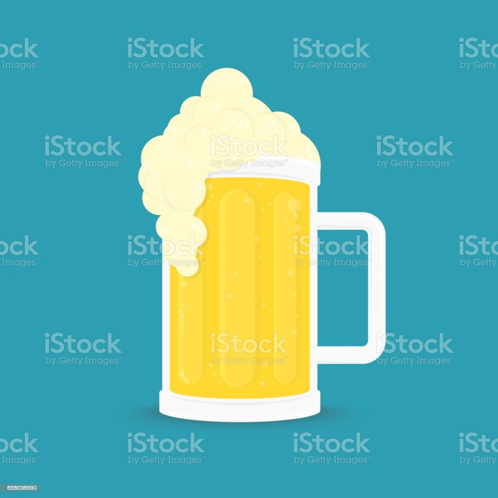 Vector beer with shadow. vector art illustration