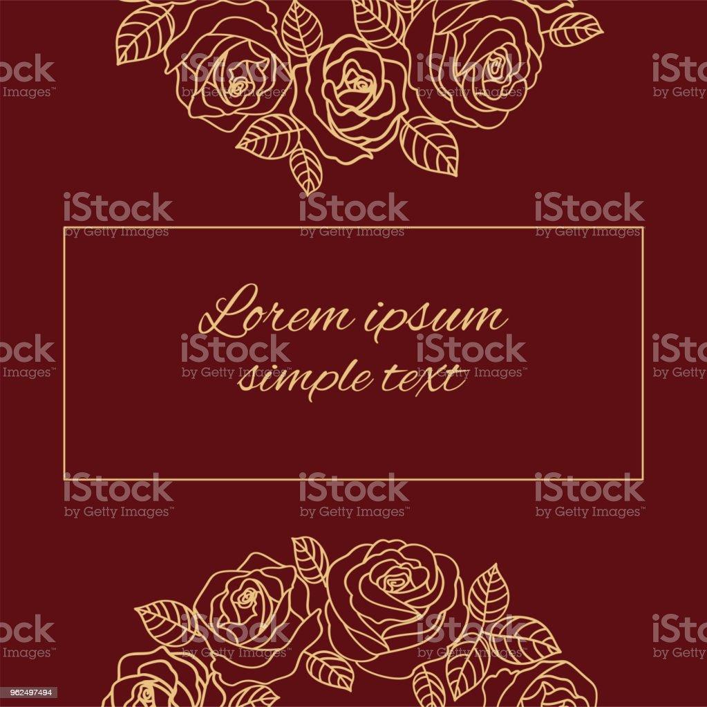 Vector cartão bege contorno rosas - Vetor de Bege royalty-free