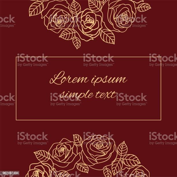 Vetores de Vector Cartão Bege Contorno Rosas e mais imagens de Bege