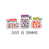 """Flat vector illustration of blackberries, blueberries and strawberries in glass jars. Cartoon berry jam and hand drawn decorative lettering """"TASTE OF SUMMER"""". Perfect for stickers, posters, cards, t-shirt design."""