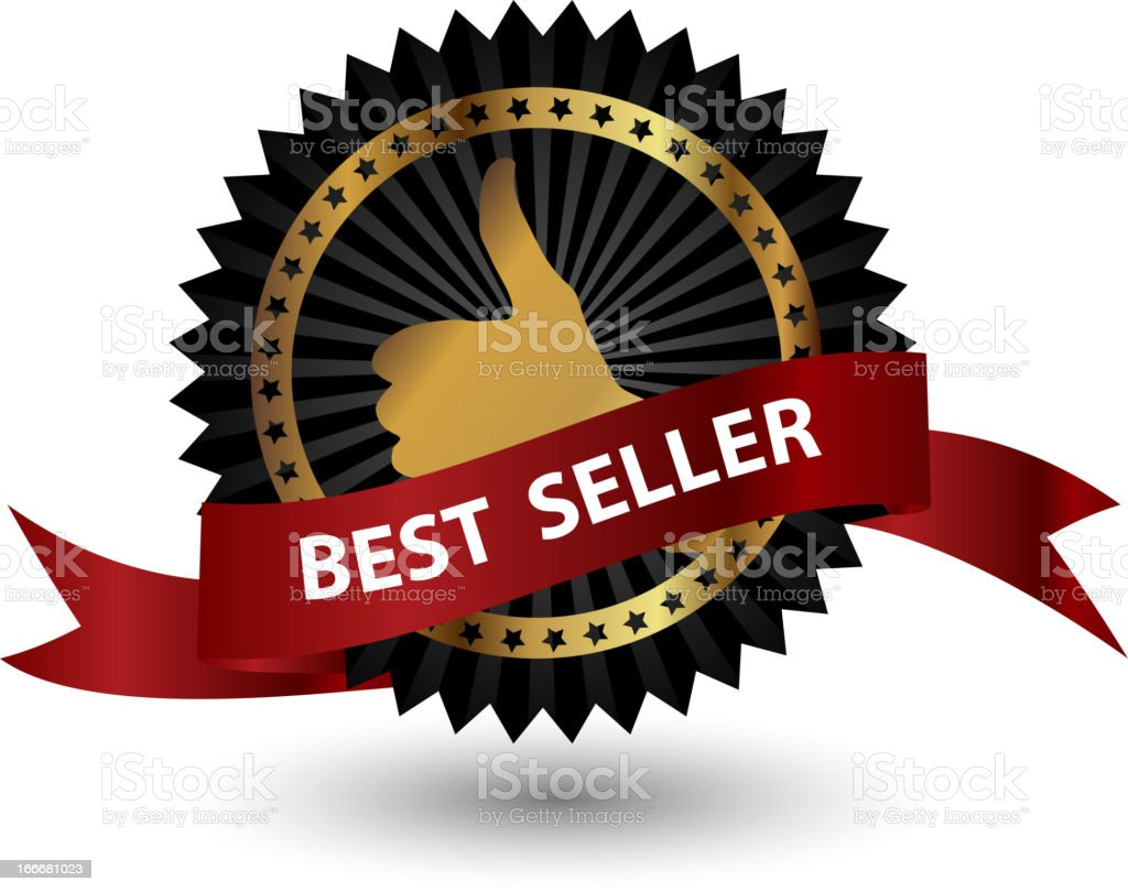 Vector Best Seller label with red ribbon. vector art illustration
