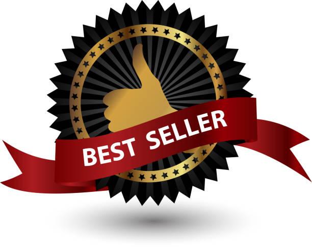 ベクトルのベストセラーラベルにレッドのリボン。 - 株式仲買人点のイラスト素材/クリップアート素材/マンガ素材/アイコン素材
