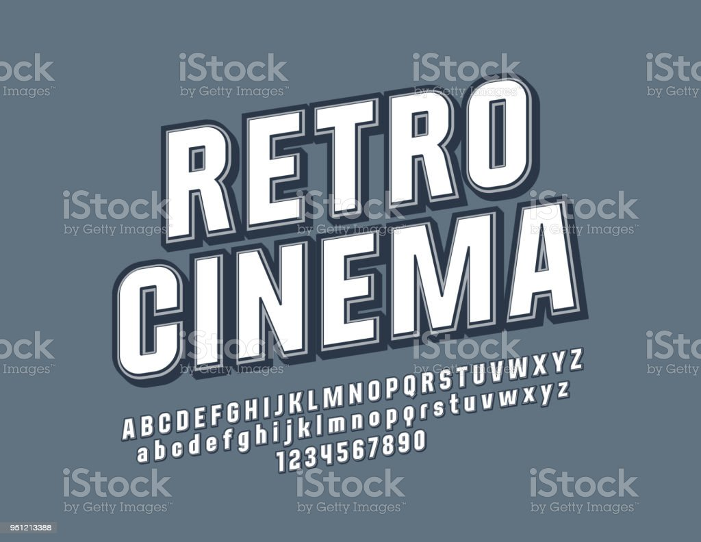 Vector Beveled Sign Retro Cinema With Stylish Font Stock Illustration Download Image Now Istock