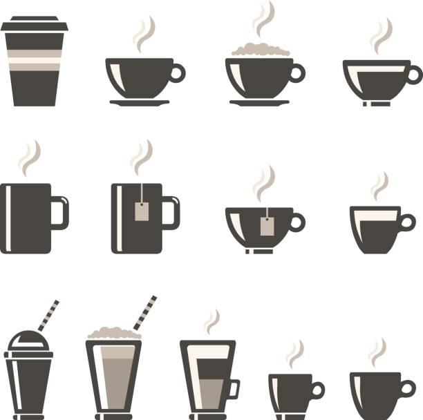 ilustrações de stock, clip art, desenhos animados e ícones de vector beverages icon set. - chá bebida quente