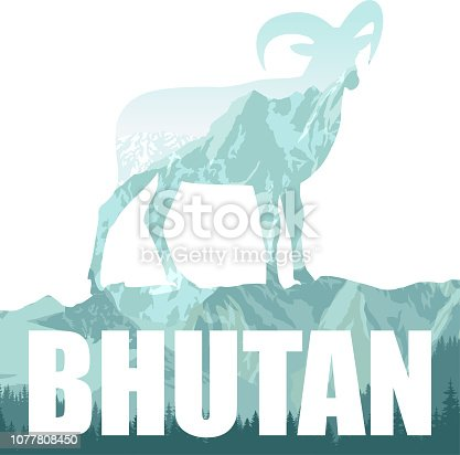 vector Bhutan illustration with himalayan mountain goats