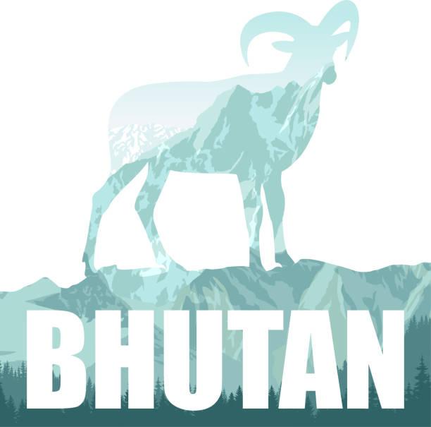 vektor-illustration von bhutan mit himalaja bergziegen - bergziegen stock-grafiken, -clipart, -cartoons und -symbole