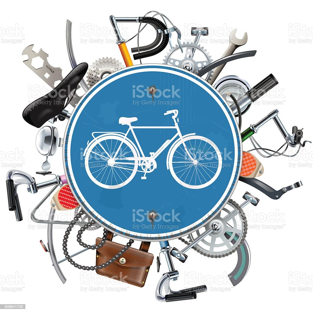 Vector Bicycle Spares Concept with Blue Round Sign vector art illustration