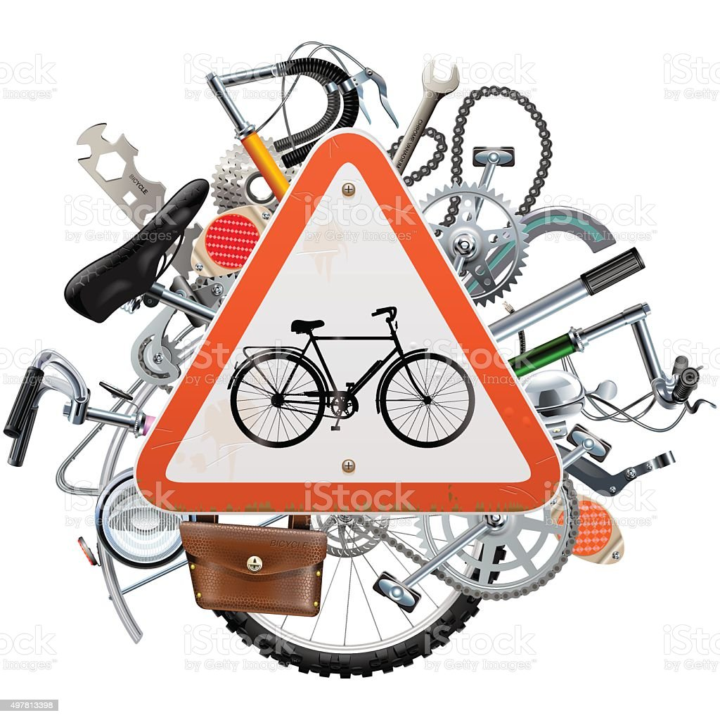 Vector Bicycle Spares Concept with Triangle Sign vector art illustration
