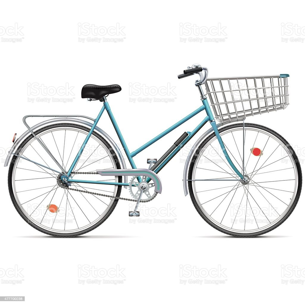 Vector Bicycle with Cart vector art illustration