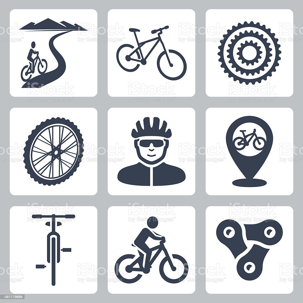 Vector bicycling, cycling icons set vector art illustration