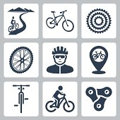 Vector bicycling, cycling icons set