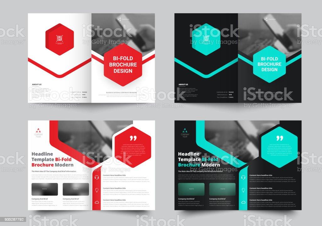 Vektor Bi-Fold Informationsbroschüre mit einem Platz für Fotos und sechseckige farbige Elemente. – Vektorgrafik