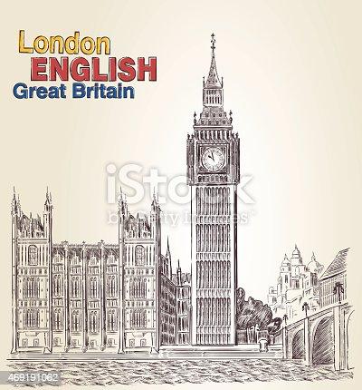 istock Vector Big Ben. Engraving 469191062