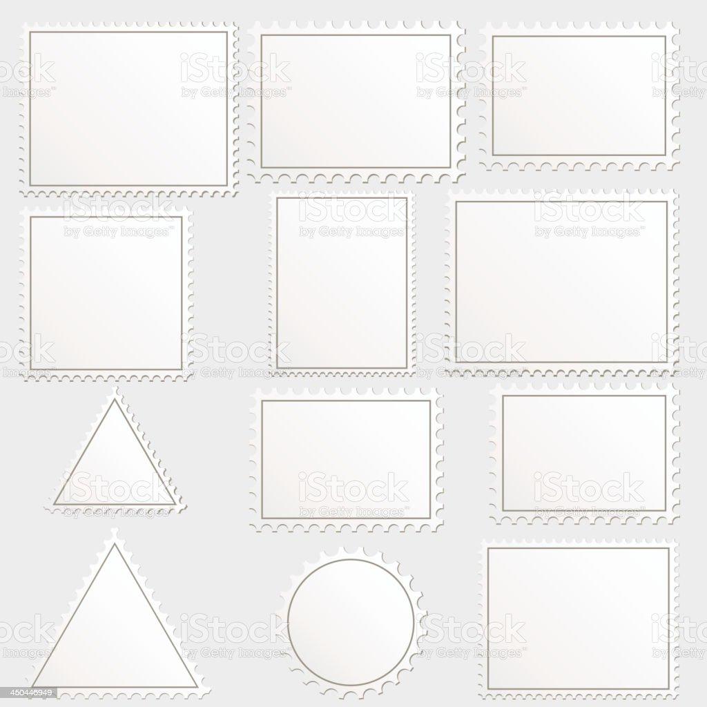 Vector big set of blank postage stamps different geometric shapes. vector art illustration