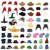 Vector Big Set of Cartoon Hats and Caps. 57 Headwear Items.